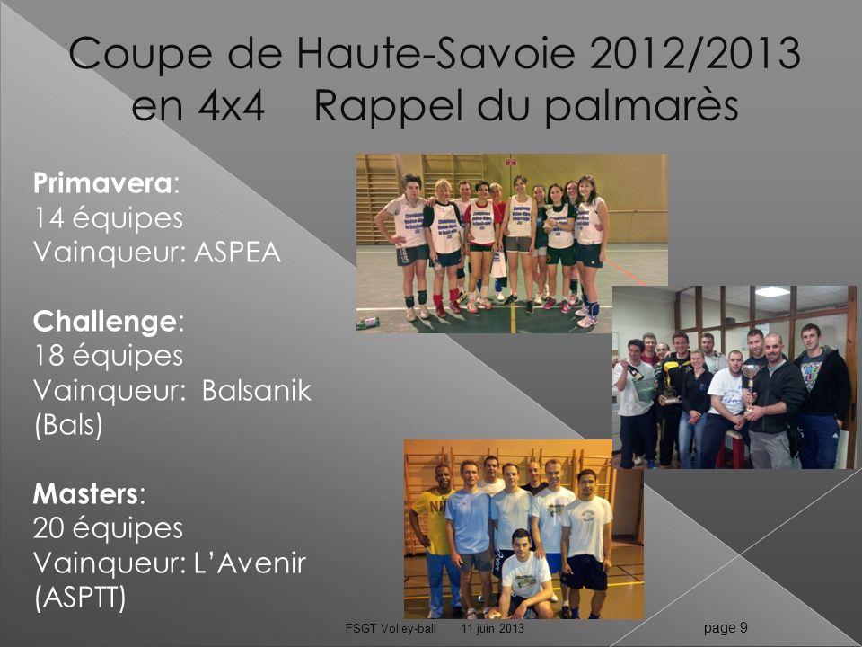 Coupe de Haute-Savoie 2012/2013 en 4x4 Rappel du palmarès 11 juin 2013FSGT Volley-ball page 9 Primavera : 14 équipes Vainqueur: ASPEA Challenge : 18 é