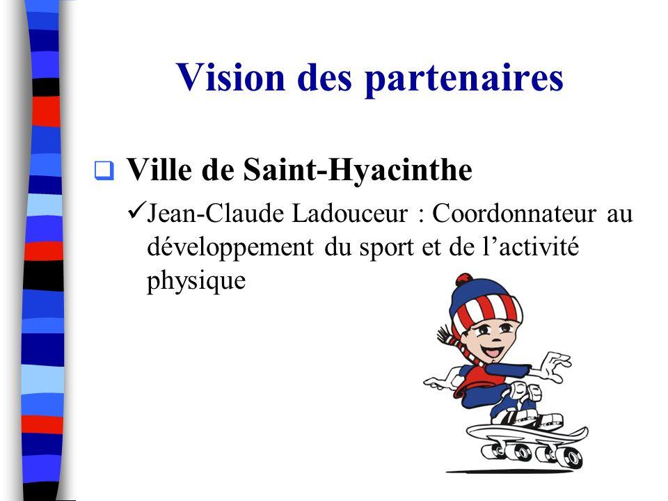 Vision des partenaires Ville de Saint-Hyacinthe Jean-Claude Ladouceur : Coordonnateur au développement du sport et de lactivité physique