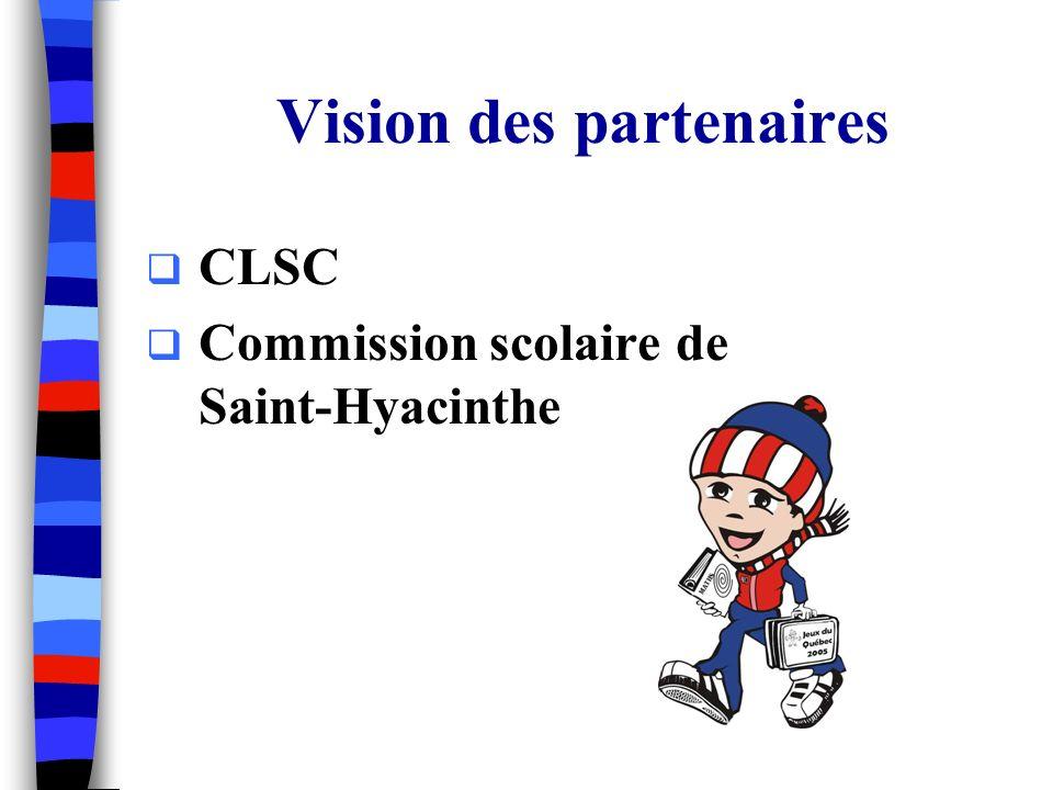 Vision des partenaires CLSC Commission scolaire de Saint-Hyacinthe