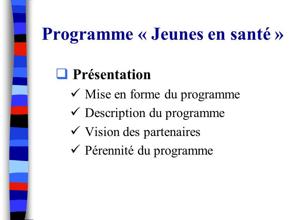 Programme « Jeunes en santé » Présentation Mise en forme du programme Description du programme Vision des partenaires Pérennité du programme