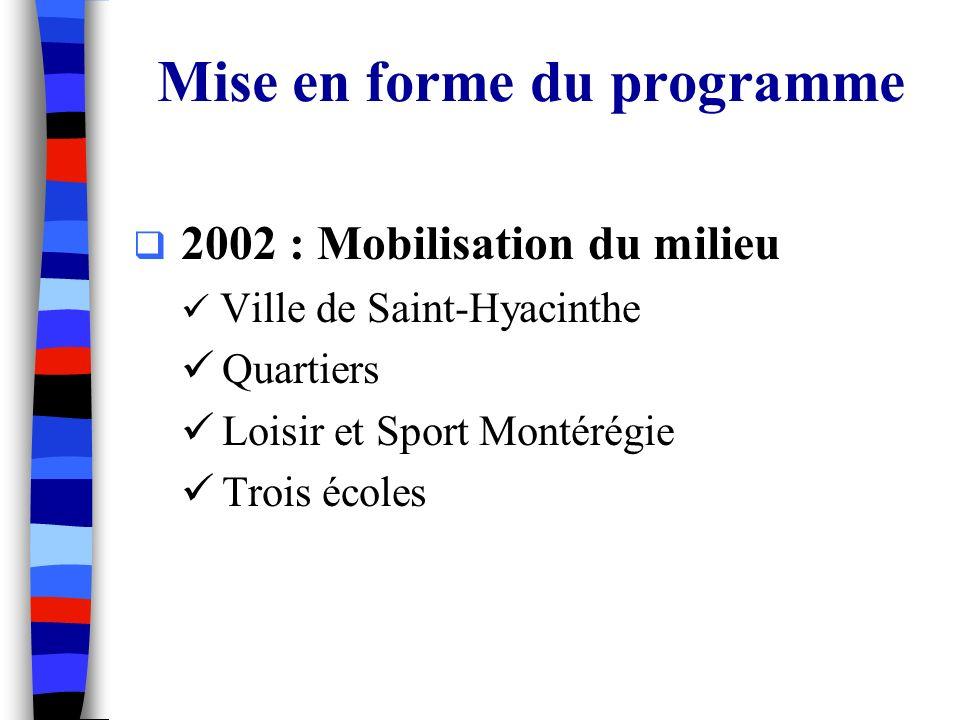 Mise en forme du programme 2002 : Mobilisation du milieu Ville de Saint-Hyacinthe Quartiers Loisir et Sport Montérégie Trois écoles