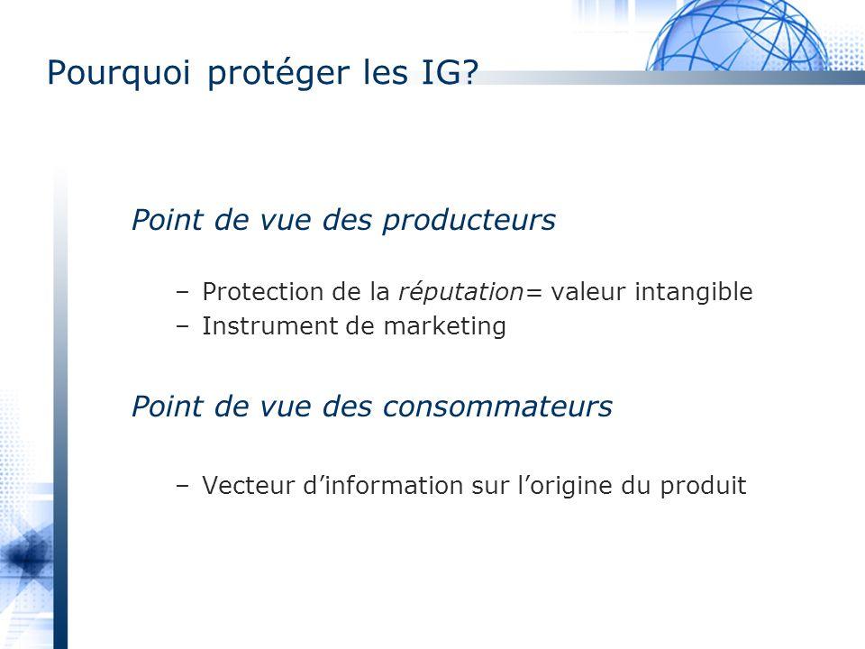 Pourquoi protéger les IG? Point de vue des producteurs –Protection de la réputation= valeur intangible –Instrument de marketing Point de vue des conso
