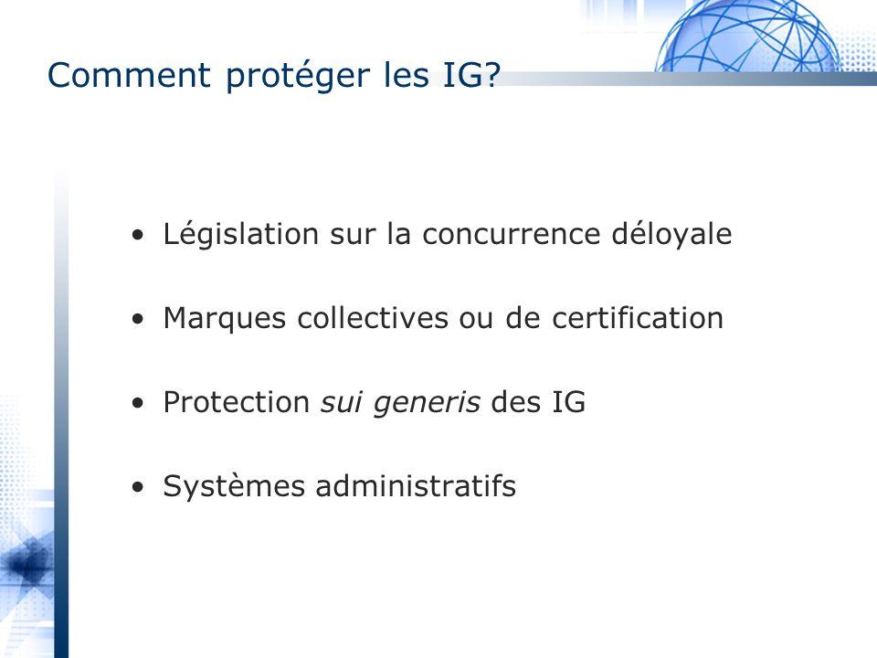 Comment protéger les IG? Législation sur la concurrence déloyale Marques collectives ou de certification Protection sui generis des IG Systèmes admini