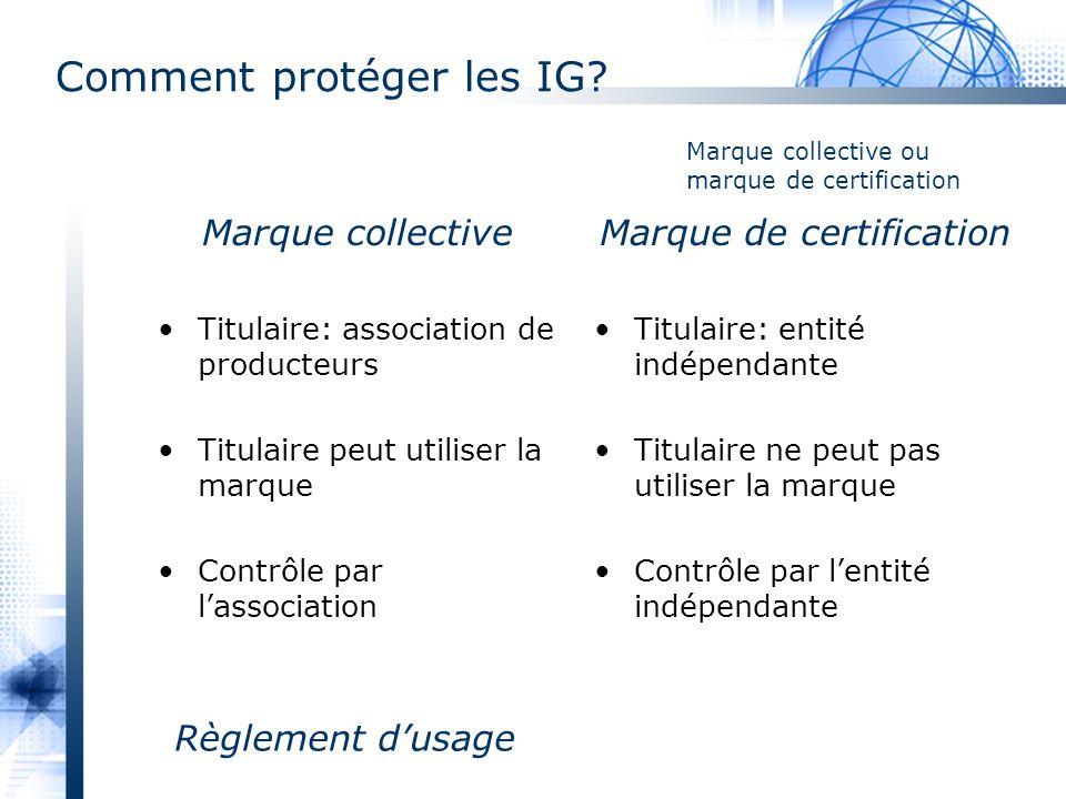 Comment protéger les IG? Marque collective Titulaire: association de producteurs Titulaire peut utiliser la marque Contrôle par lassociation Marque de