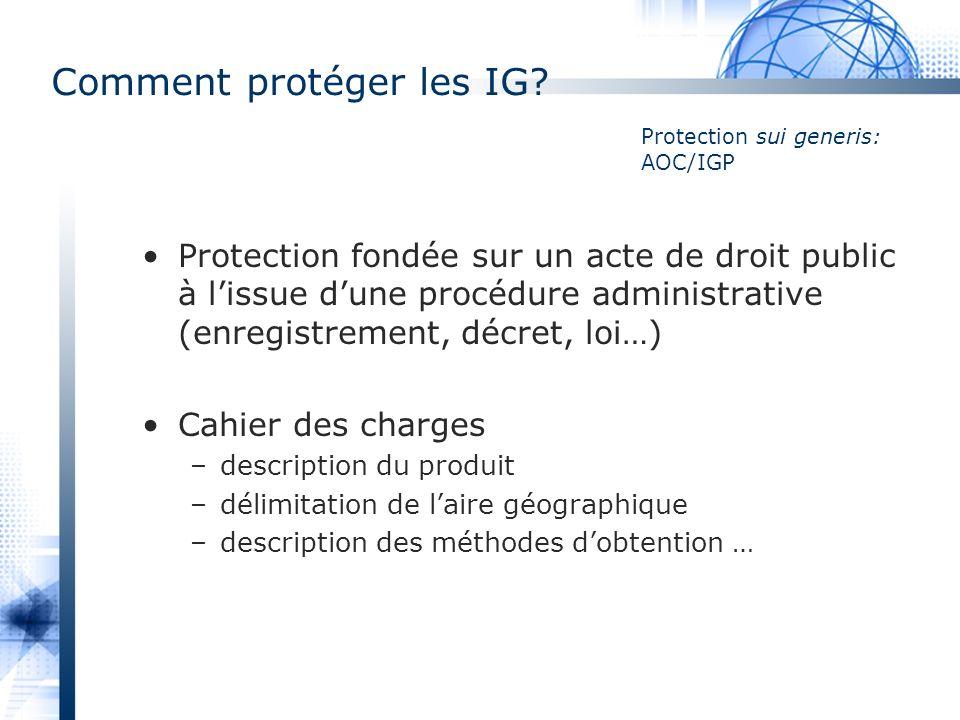 Comment protéger les IG? Protection fondée sur un acte de droit public à lissue dune procédure administrative (enregistrement, décret, loi…) Cahier de
