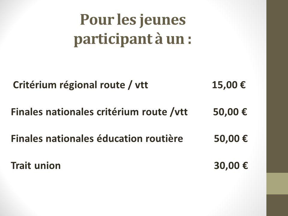Pour les jeunes participant à un : Critérium régional route / vtt 15,00 Finales nationales critérium route /vtt 50,00 Finales nationales éducation routière 50,00 Trait union 30,00