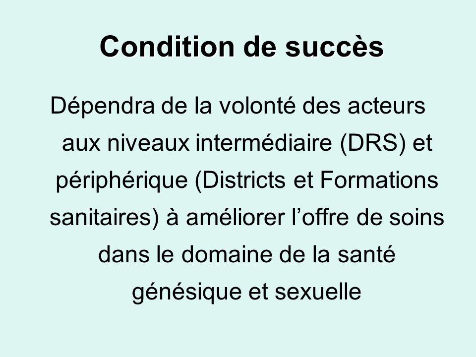 Condition de succès Condition de succès Dépendra de la volonté des acteurs aux niveaux intermédiaire (DRS) et périphérique (Districts et Formations sa