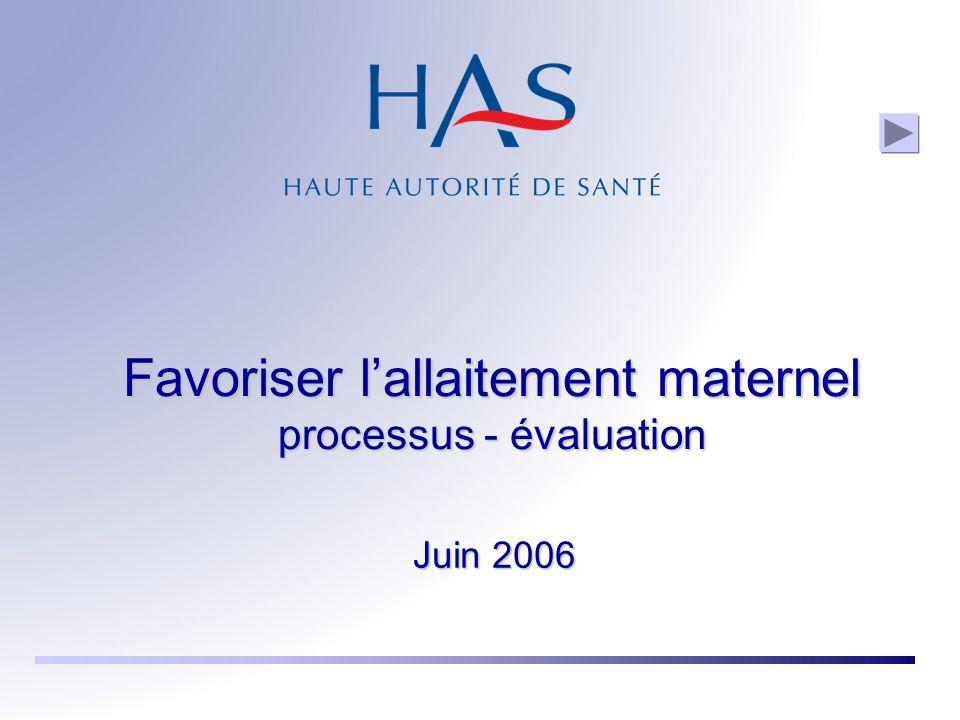 Favoriser lallaitement maternel processus - évaluation Juin 2006
