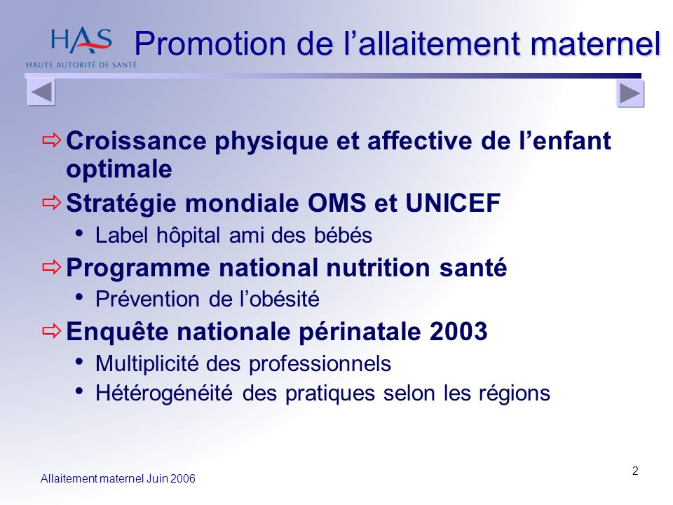 Allaitement maternel Juin 2006 2 Promotion de lallaitement maternel Croissance physique et affective de lenfant optimale Stratégie mondiale OMS et UNI