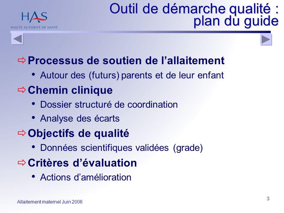 Allaitement maternel Juin 2006 3 Outil de démarche qualité : plan du guide Processus de soutien de lallaitement Autour des (futurs) parents et de leur