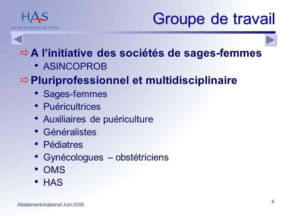 Allaitement maternel Juin 2006 4 Groupe de travail A linitiative des sociétés de sages-femmes ASINCOPROB Pluriprofessionnel et multidisciplinaire Sage