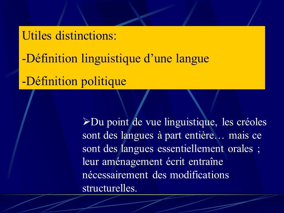 Utiles distinctions: -Définition linguistique dune langue -Définition politique Du point de vue linguistique, les créoles sont des langues à part enti