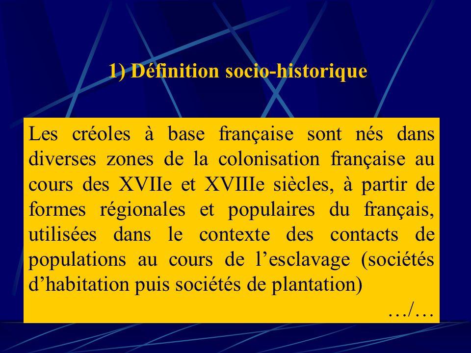Les créoles à base française sont nés dans diverses zones de la colonisation française au cours des XVIIe et XVIIIe siècles, à partir de formes région