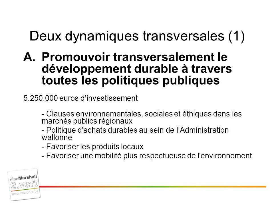 Deux dynamiques transversales (1) A.Promouvoir transversalement le développement durable à travers toutes les politiques publiques 5.250.000 euros dinvestissement - Clauses environnementales, sociales et éthiques dans les marchés publics régionaux - Politique d achats durables au sein de lAdministration wallonne - Favoriser les produits locaux - Favoriser une mobilité plus respectueuse de l environnement