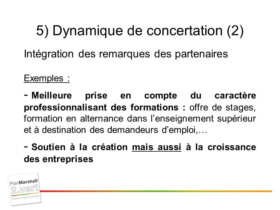 5) Dynamique de concertation (2) Intégration des remarques des partenaires Exemples : - Meilleure prise en compte du caractère professionnalisant des formations : offre de stages, formation en alternance dans lenseignement supérieur et à destination des demandeurs demploi,… - Soutien à la création mais aussi à la croissance des entreprises