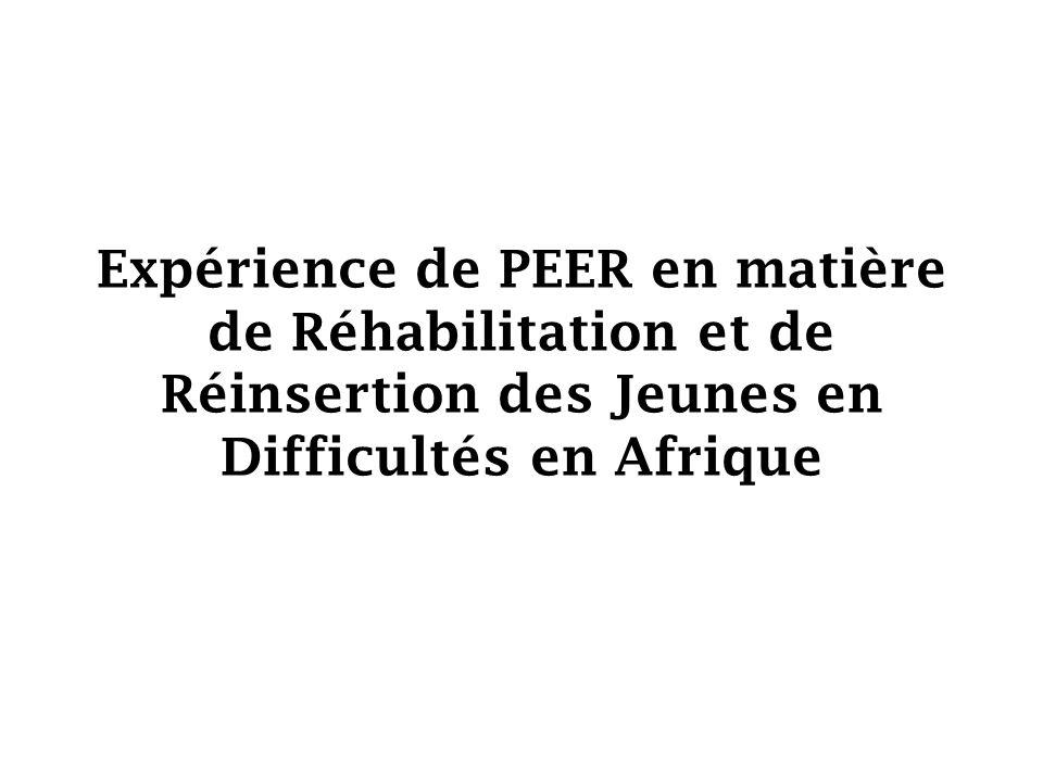 Expérience de PEER en matière de Réhabilitation et de Réinsertion des Jeunes en Difficultés en Afrique