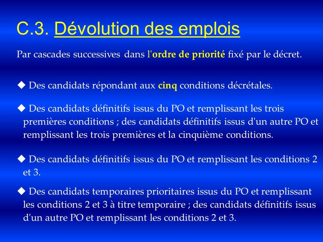 C.3. Dévolution des emplois Par cascades successives dans l'ordre de priorité fixé par le décret. Des candidats répondant aux cinq conditions décrétal