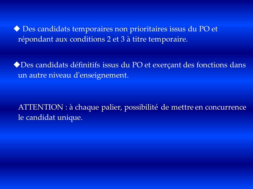 Des candidats temporaires non prioritaires issus du PO et répondant aux conditions 2 et 3 à titre temporaire. Des candidats définitifs issus du PO et