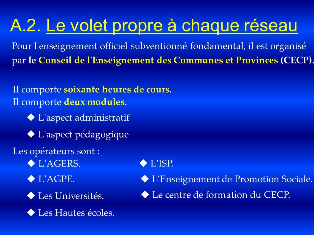A.2. Le volet propre à chaque réseau Pour l'enseignement officiel subventionné fondamental, il est organisé par le Conseil de l'Enseignement des Commu