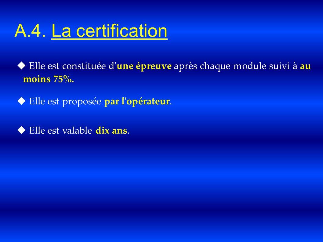 A.4. La certification Elle est constituée d'une épreuve après chaque module suivi à au moins 75%. Elle est proposée par l'opérateur. Elle est valable