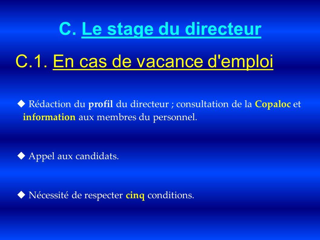 C. Le stage du directeur C.1. En cas de vacance d'emploi Rédaction du profil du directeur ; consultation de la Copaloc et information aux membres du p