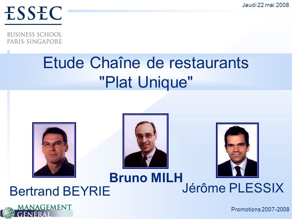 Promotions 2007-2008 Jeudi 22 mai 2008 Etude Chaîne de restaurants Plat Unique Bertrand BEYRIE Bruno MILH Jérôme PLESSIX