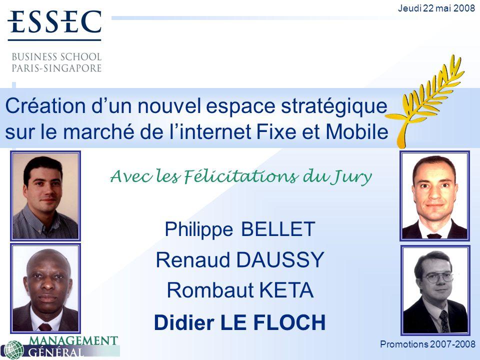Promotions 2007-2008 Jeudi 22 mai 2008 Création dun nouvel espace stratégique sur le marché de linternet Fixe et Mobile Renaud DAUSSY Philippe BELLET