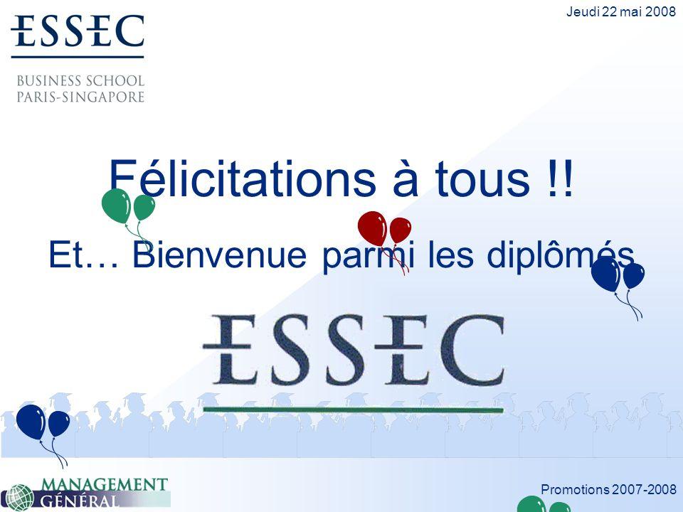 Promotions 2007-2008 Jeudi 22 mai 2008 Félicitations à tous !! Et… Bienvenue parmi les diplômés