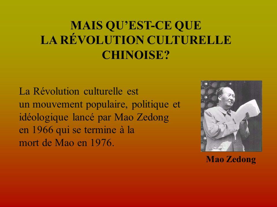 MAIS QUEST-CE QUE LA RÉVOLUTION CULTURELLE CHINOISE.