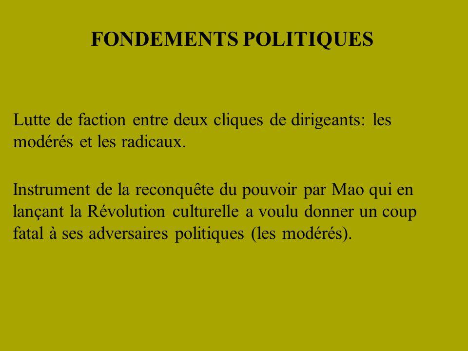 FONDEMENTS POLITIQUES Lutte de faction entre deux cliques de dirigeants: les modérés et les radicaux.