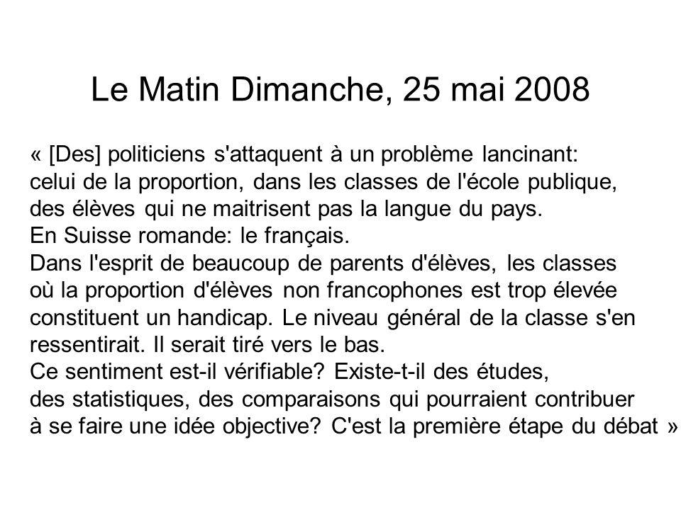 Le Matin Dimanche, 25 mai 2008 « [Des] politiciens s'attaquent à un problème lancinant: celui de la proportion, dans les classes de l'école publique,