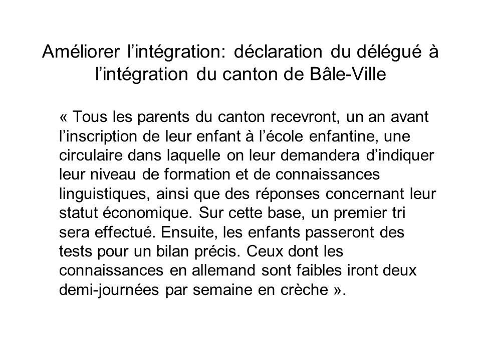 Améliorer lintégration: déclaration du délégué à lintégration du canton de Bâle-Ville « Tous les parents du canton recevront, un an avant linscription