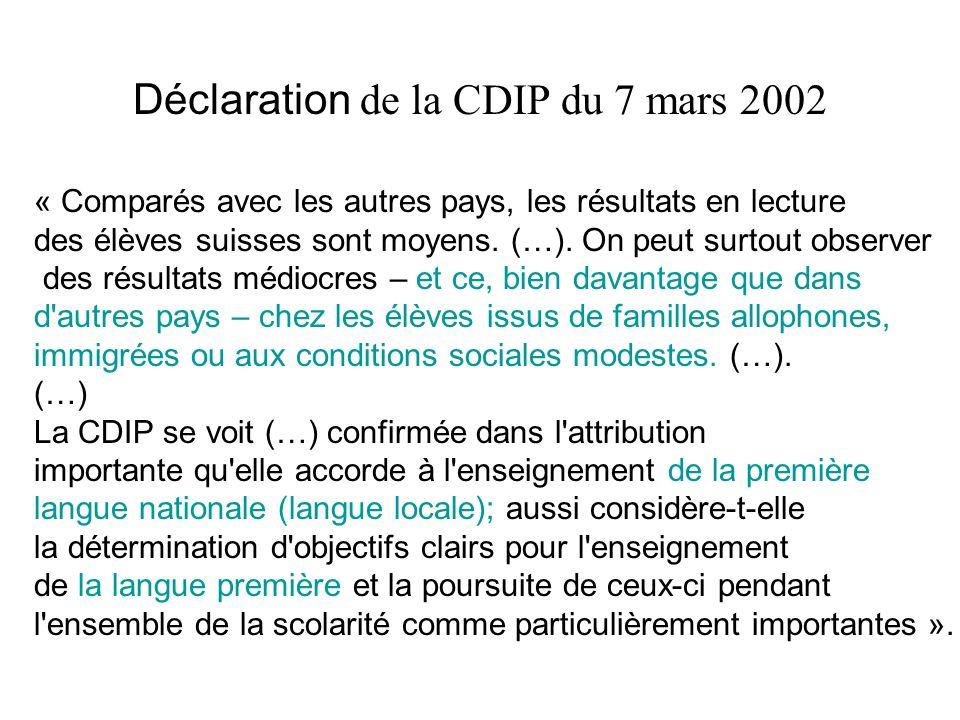 Déclaration de la CDIP du 7 mars 2002 « Comparés avec les autres pays, les résultats en lecture des élèves suisses sont moyens. (…). On peut surtout o