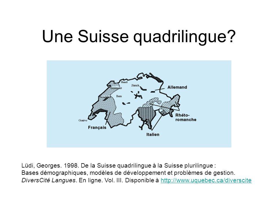 Evolution du pourcentage des locuteurs des 4 langues nationales allemandfrançaisitalienrétho- romanche 190069,8%22%6,7%1,2% 197064,9%18,1%11,9%0,8% 200263,7%20,4%6,5%0,5% En 2002, 9% de la population déclare comme langue principale une autre langue quune langue nationale