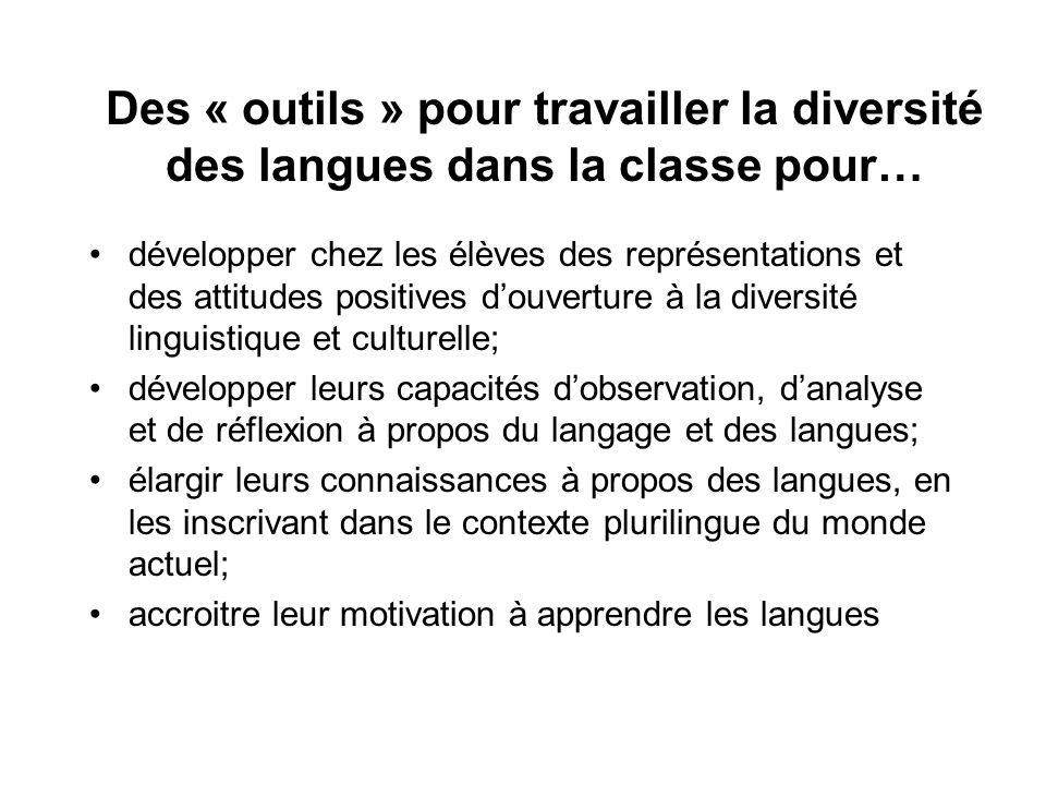 Des « outils » pour travailler la diversité des langues dans la classe pour… développer chez les élèves des représentations et des attitudes positives
