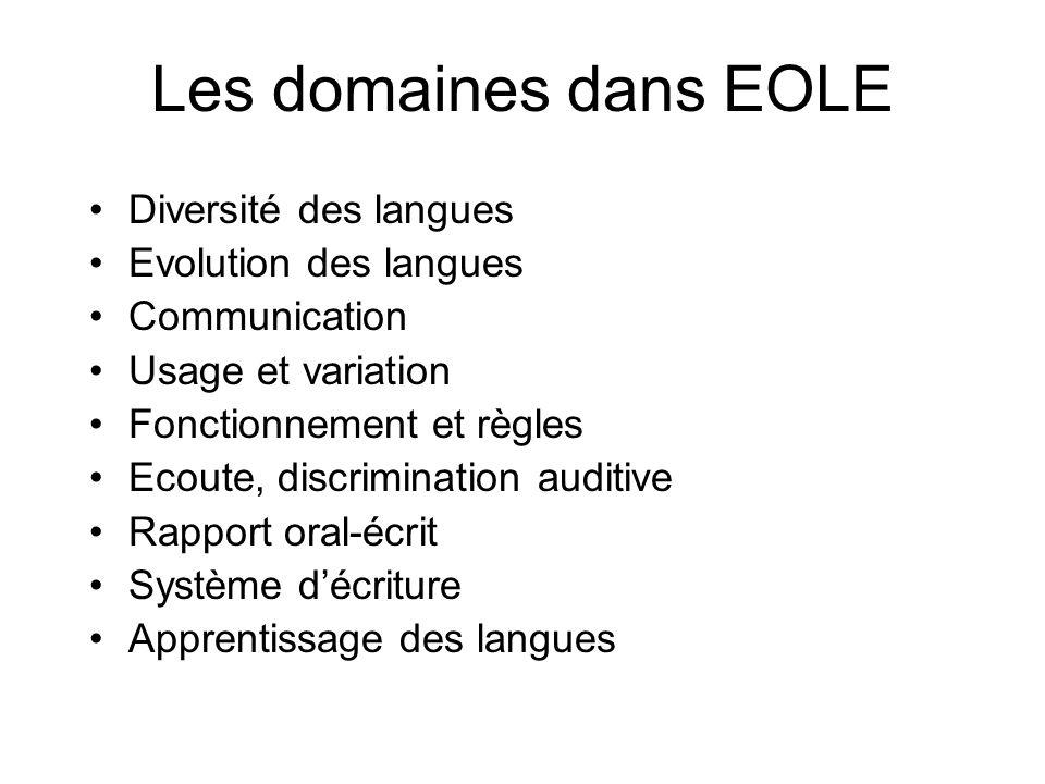 Les domaines dans EOLE Diversité des langues Evolution des langues Communication Usage et variation Fonctionnement et règles Ecoute, discrimination au