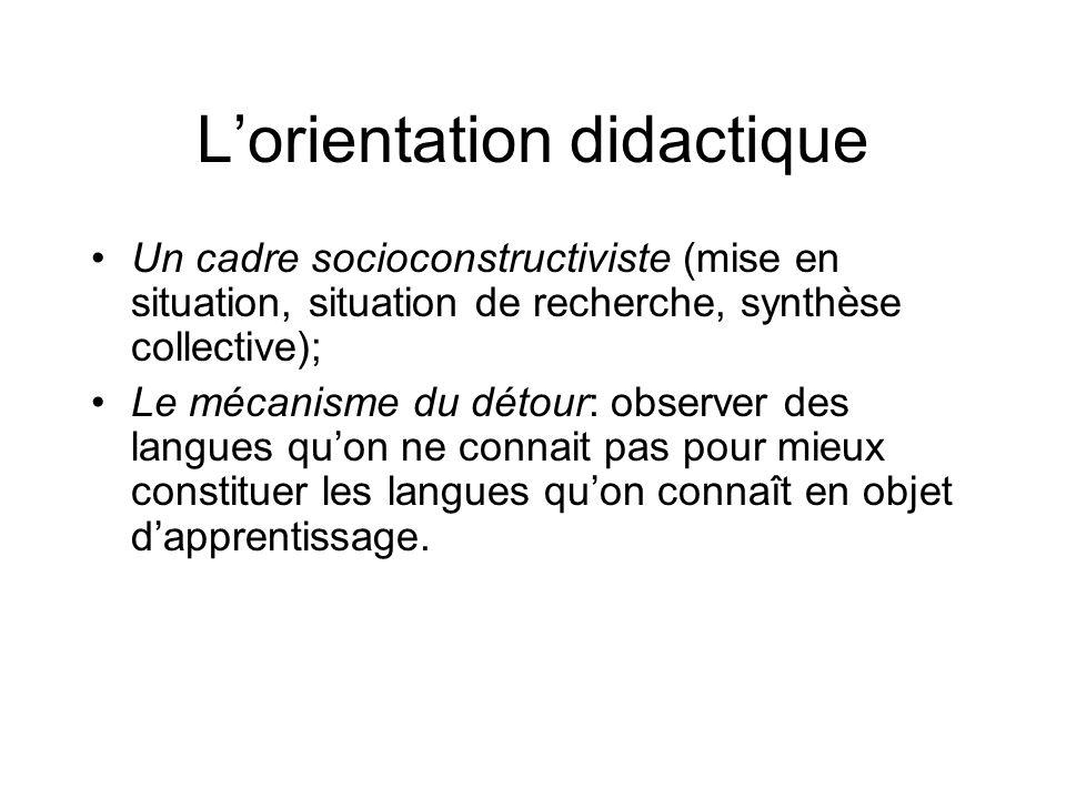 Lorientation didactique Un cadre socioconstructiviste (mise en situation, situation de recherche, synthèse collective); Le mécanisme du détour: observ