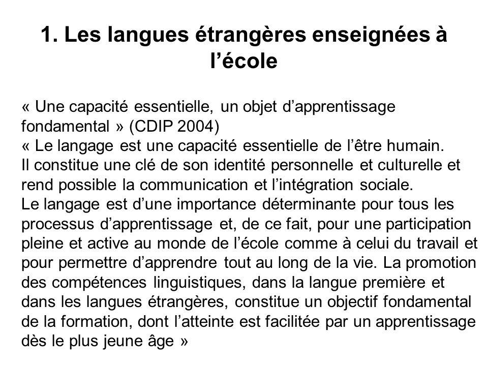 1. Les langues étrangères enseignées à lécole « Une capacité essentielle, un objet dapprentissage fondamental » (CDIP 2004) « Le langage est une capac