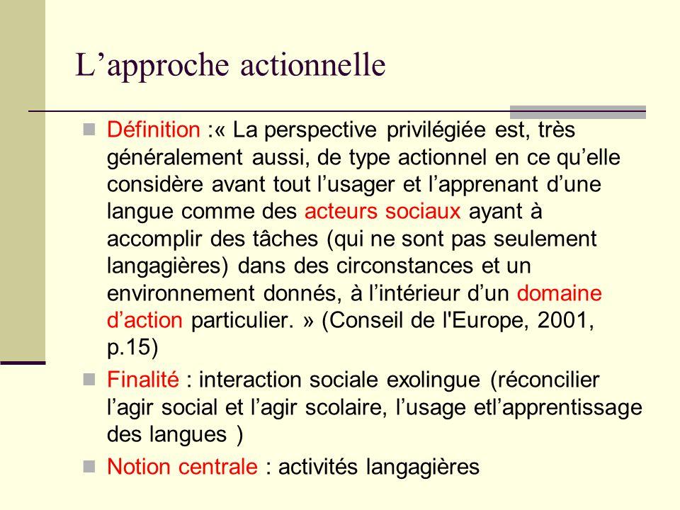 Lapproche actionnelle Définition :« La perspective privilégiée est, très généralement aussi, de type actionnel en ce quelle considère avant tout lusag