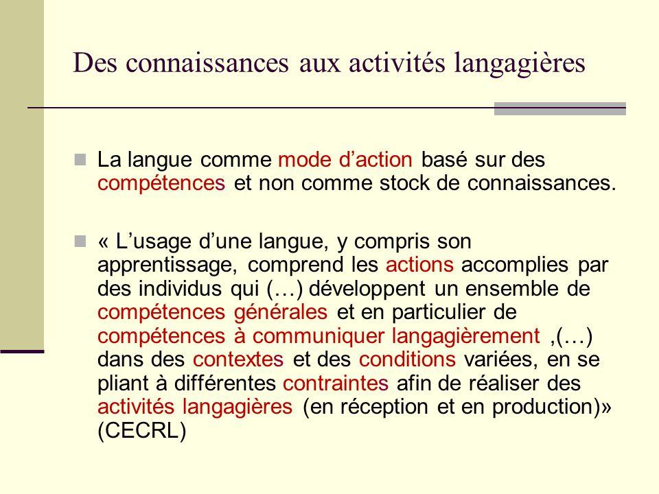 Des connaissances aux activités langagières La langue comme mode daction basé sur des compétences et non comme stock de connaissances. « Lusage dune l