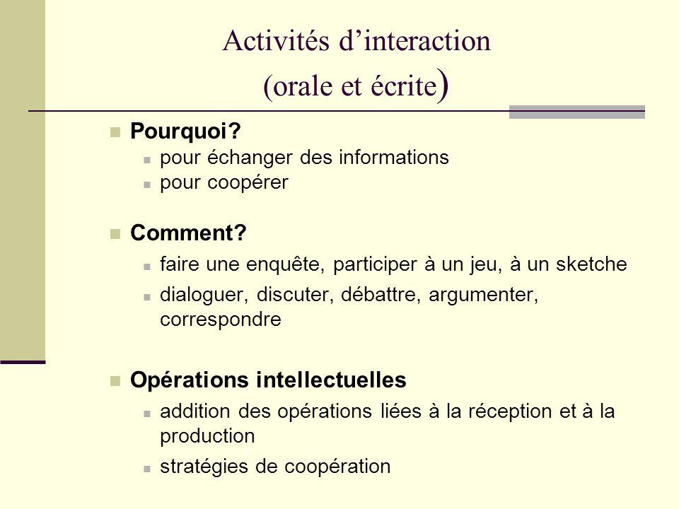 Activités dinteraction (orale et écrite ) Pourquoi? pour échanger des informations pour coopérer Comment? faire une enquête, participer à un jeu, à un