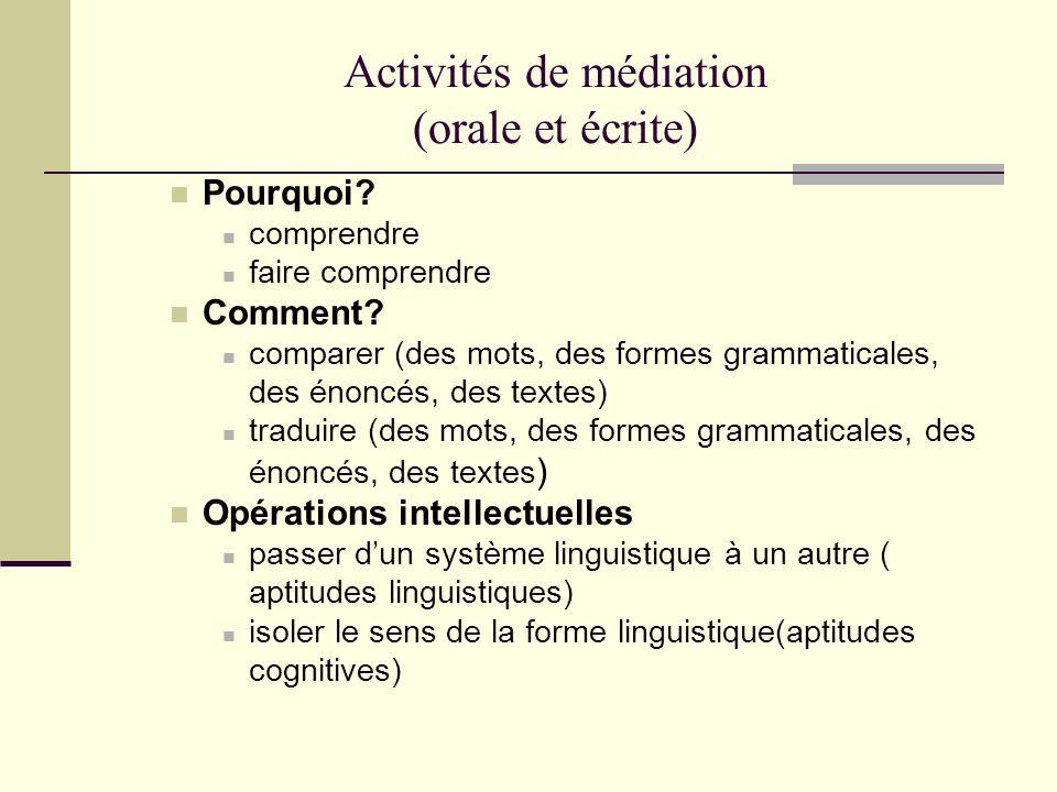 Activités de médiation (orale et écrite) Pourquoi? comprendre faire comprendre Comment? comparer (des mots, des formes grammaticales, des énoncés, des