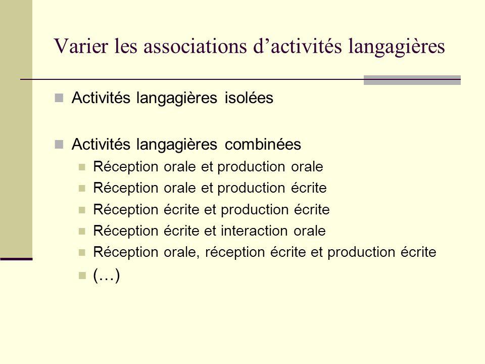Varier les associations dactivités langagières Activités langagières isolées Activités langagières combinées Réception orale et production orale Récep