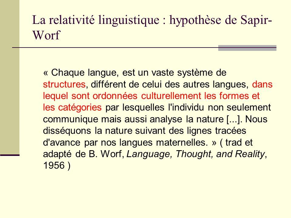 La relativité linguistique : hypothèse de Sapir- Worf « Chaque langue, est un vaste système de structures, différent de celui des autres langues, dans
