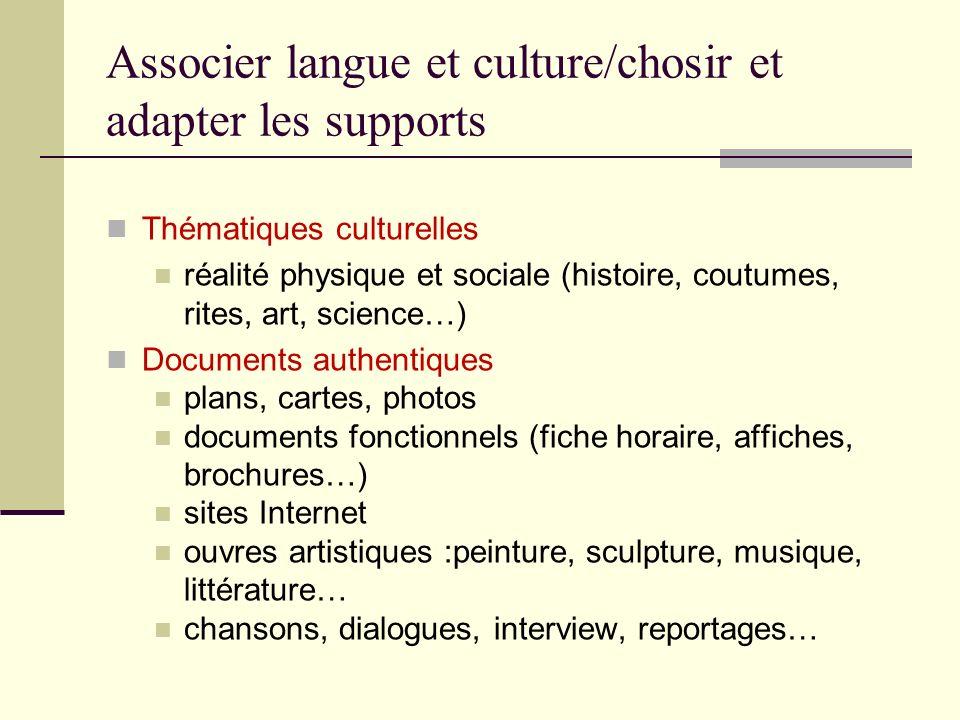 Associer langue et culture/chosir et adapter les supports Thématiques culturelles réalité physique et sociale (histoire, coutumes, rites, art, science