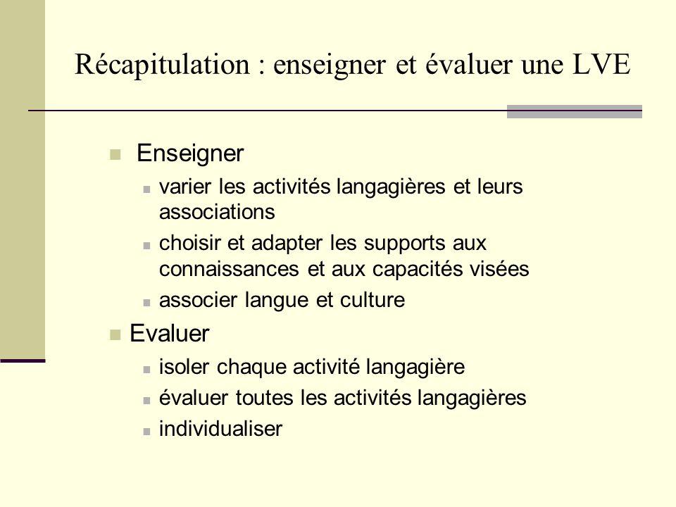 Récapitulation : enseigner et évaluer une LVE Enseigner varier les activités langagières et leurs associations choisir et adapter les supports aux con