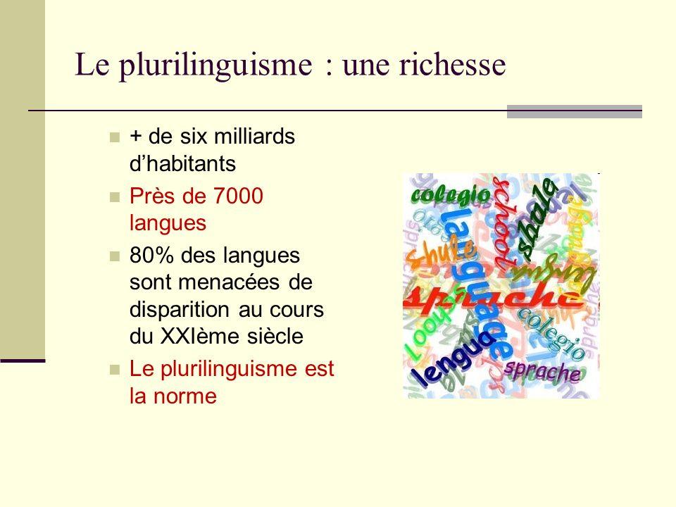 Le plurilinguisme : une richesse + de six milliards dhabitants Près de 7000 langues 80% des langues sont menacées de disparition au cours du XXIème si