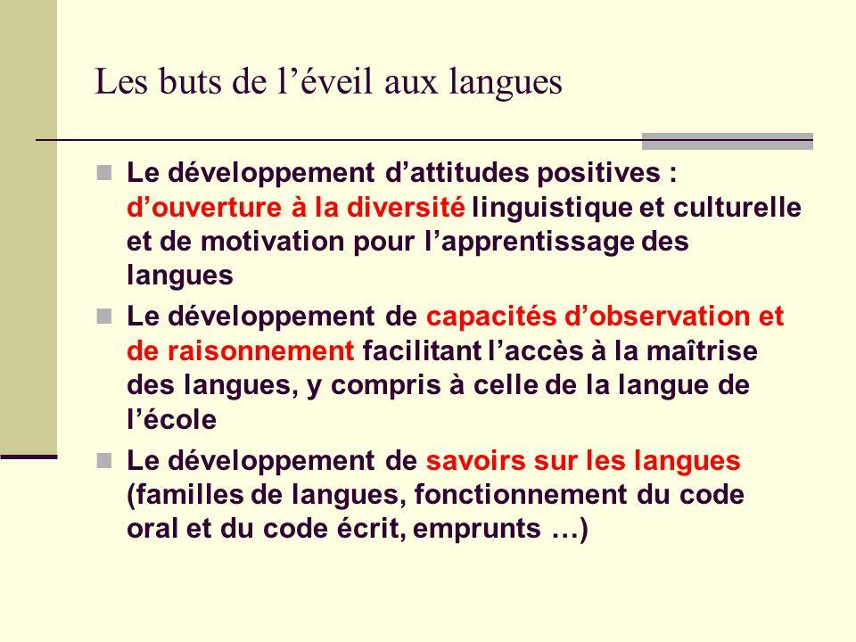 Les buts de léveil aux langues Le développement dattitudes positives : douverture à la diversité linguistique et culturelle et de motivation pour lapp