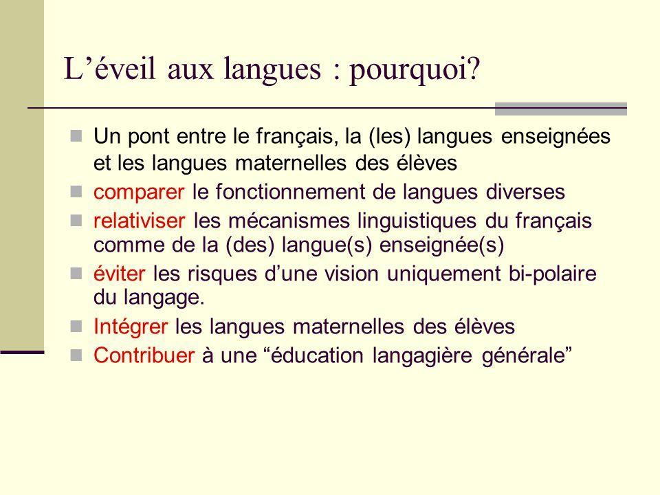 Léveil aux langues : pourquoi? Un pont entre le français, la (les) langues enseignées et les langues maternelles des élèves comparer le fonctionnement