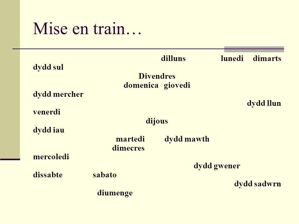 Mise en train… dillunslunedi dimarts dydd sul Divendres domenica giovedi dydd mercher dydd llun venerdi dijous dydd iau martedidydd mawth dimecres mer